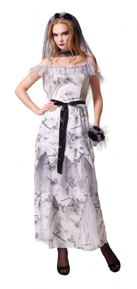 Ladies Zombie Corpse Bride Costume TWD Halloween Living Walking Dead Fancy Dress
